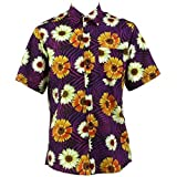 Loud Originals Regular Fit Short Sleeve Shirt - Orange Floral on Geometric Purple