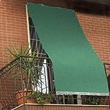 Tenda da sole tessuto resistente per balcone con anelli lavabile a caduta - Verde - 280x295 cm