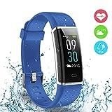 Reloj deportivo, Ausun 130 Plus Pulsera Inteligente Pantalla Color Monitores de actividad con Pulsómetros Reloj Inteligente Pulsera Actividad Brillo de la Pantalla Ajustable Impermeable IP68 con 14 Modos de Ejercicio Monitor para iOS y Android, Azul