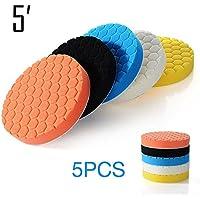 Sedeta 5 piezas 5 pulgadas Kit para almohadillas de esponja para pulir autos para la limpieza del lavado del tampón del pulidor del coche