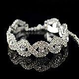 LZYZOY Fahison Frauen Dame Rhinestone Metal Chain Bangle Jewelry
