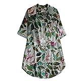 Oyedens Damen Kleider Elegant Frauen Frühling Große Größen Leinen Baumwolle Langarm Shirt Minikleid Blumen Kleid