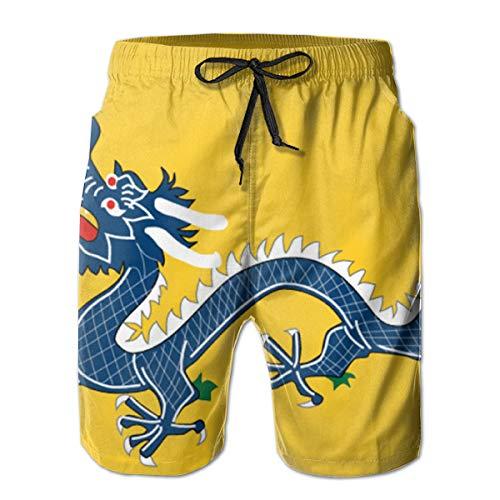 Ye Hua Bañador Corto para Hombre Qing Dragon Flag para Hombre con Forro de Malla...
