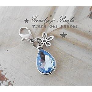 1 Charm KristallTropfen aqua Blume hellblau Karabiner Anhänger