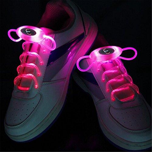 SKKMALL RGB 1 Paar 80cm Glow Schnürsenkel LED Sport Schuh Schnürsenkel Glow Stick Blink Neon Leuchtende Schnürsenkel Warm Weiß Weiß Rot Grün Gelb Pink Blau auf Lager ( Color : Pink )