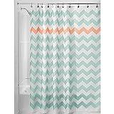 InterDesign Chevron Duschvorhang Textil | pflegeleichter Duschvorhang aus Stoff mit verstärkten Löchern | Badewannenvorhang mit Zickzack-Muster | Polyester türkis/koralle