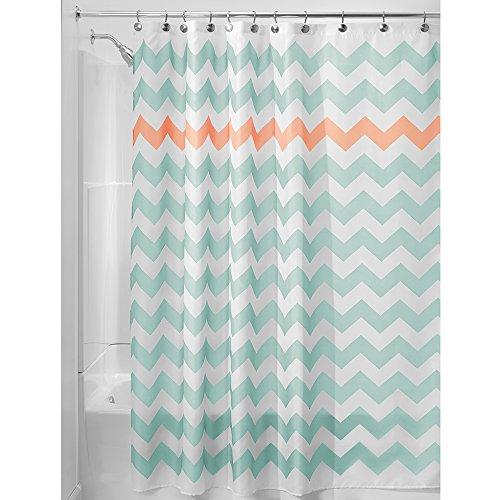iDesign Chevron Duschvorhang Textil   pflegeleichter Duschvorhang aus Stoff mit verstärkten Löchern   Badewannenvorhang mit Zickzack-Muster   Polyester türkis/koralle (Koralle Chevron Duschvorhang)