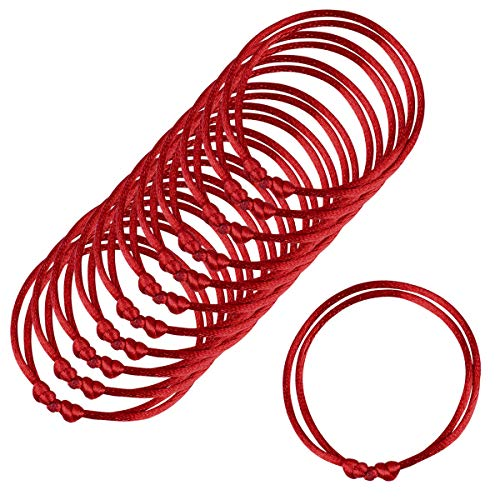 Paquete de 12 pulseras rojas, Pulseras de cordel rojo Lot-Kabbalah, cuerda roja hecha a mano, pulsera ajustable Cabala, buena para la riqueza y el amor, talla unica