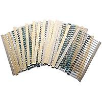 Yililay 600 piezas de 30 valores 1/4 W 1% de resistencia de película metálica Surtido de resistencias Set de bajo ruido Home Products