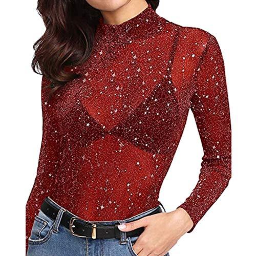 Kostüm Rapunzel Hipster - iHENGH Damen Top Bluse Lässig Mode T-Shirt Frühling Sommer Frauen Bequem Blusen Pailletten Durchsichtige Langarm Glitter Tops Mesh Sheer Shirt (Rot, M)