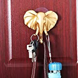 TAOtTAO Lovely Elephant Head Self Adhesive Wall Door Hook Hanger Bag Keys Sticky Holder (Gold)