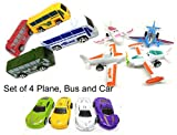 #1: Happy GiftMart Set of 4 Plane, Bus and Cars. 12 in Total for Kids Toy