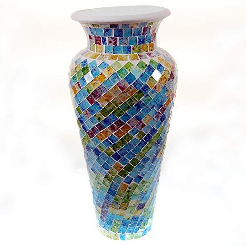 SEESTERN Mosaik Boden Vase Tonvase mit Glas Mosaik verziert 60cm hoch /1626