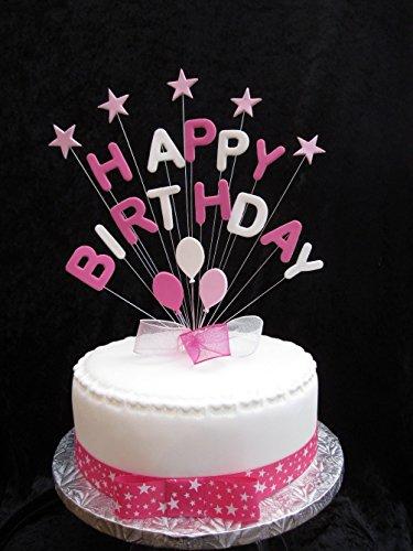 Happy Birthday Pinks Blanco y tarta con estrellas y globos Plus de 1metro x 25mm Rosa lunares grogrén