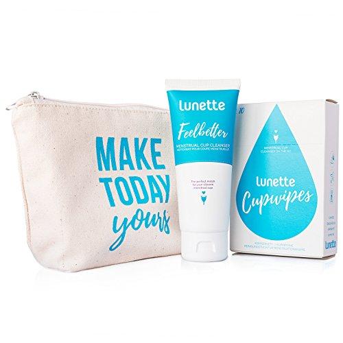 Lunette Paket für unterwegs – Lunette Feelbetter Flüssigseife + CupWipe Reinigungstücher + handgefertigte Tasche (Make Today Yours)