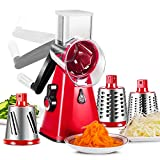 Rallador de queso 3 en 1 cortador de verduras con 3 tambores de acero inoxidable cortador de queso cortador de verduras