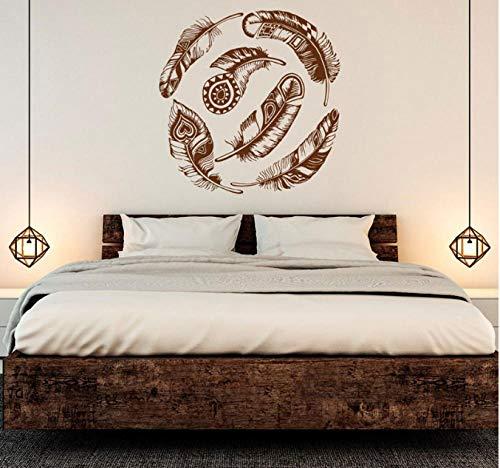 Idea de etiqueta de pared Atrapasueños Vinilo creativo decoración para el hogar arte de la pared luz vida hermoso mural 57x58cm