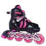 Kinder Erwachsene Inline Skates & Kinder Schlittschuh Roller Blades Mit Leucht PU Räder| Größe Verstellbar