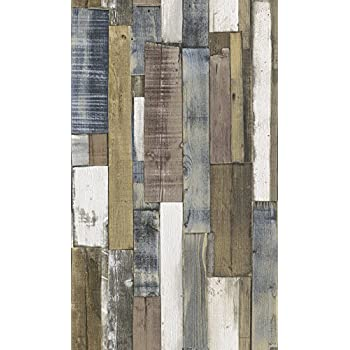 Reclaimed Wood Panel Effect Faux Wallpaper Browns Blue