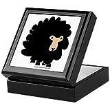 Cafepress–One nero pecore.–Scatola dei ricordi, rifinito in legno Jewelry Box, scatola di velluto foderato Memento Black