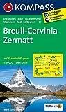 Breuil - Cervinia - Zermatt: Wanderkarte mit Radrouten und alpinen Skirouten. GPS-genau. 1:50000. (KOMPASS-Wanderkarten, Band 87796)