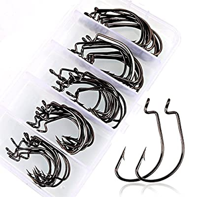 TJW 50pcs Fishing Hooks Fishing Lure Barbed Fishing Tackle High Carbon Steel Worm Senko Bait Jig Fish Hooks with Plastic Box from TJW