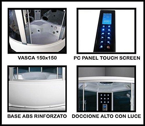 Doccia Jacuzzi Con Bagno Turco.Cabina Idromassaggio 150 150 6 Getti Con Vasca Box Doccia Multifunzione Sauna Bagno Turco I