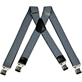 Mens braces wide adjustable and elastic suspenders X shape with a very strong clips Heavy duty