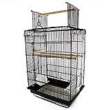 PawHut Voliera Gabbia per Uccelli da Interno Esterno Tetto Apribile con Posatoio 2 Contenitori per Alimenti in Metallo 41.5x29.5x56.5cm
