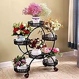 ZYFHJ Accesorios Soporte de Flores Europeo de múltiples Capas, Soporte de Flores móvil con Rueda de cinturón de Hierro Forjado Simple, Interior, Exterior (tamaño: L50 * H80CM) (Color : B)