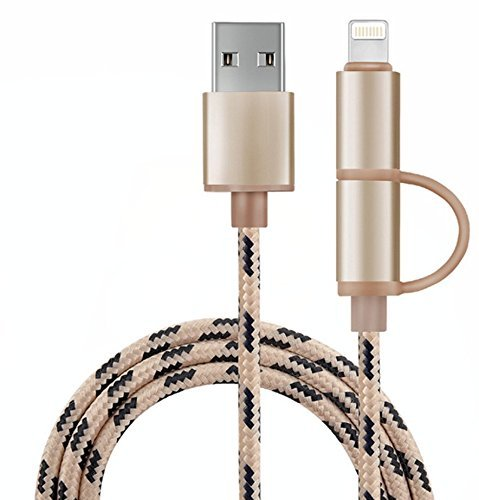 Multi Cargador, 2 en 1 Lightning y Micro USB trenzado de nylon...