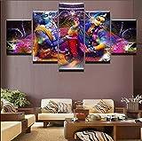 HOMOPK 5 Leinwandbild Bilder Indien Vishnu Lakshmi Shiva & Parvati 5 Teilig Wandbild hintergrundwand malerei tapete öl Druck Poster küche dekor Plakat Geschenk B,Rahmenlos.
