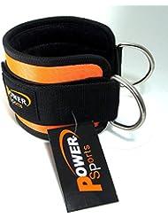 Sangle de cheville Power Sports orange en néoprène pour exercices sur machines, entraînement de puissance/levage, vendue à l'unité.