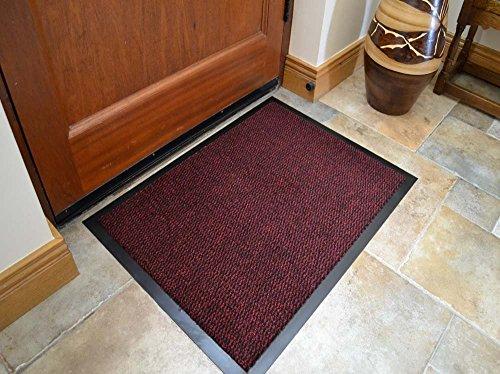 Premium Fußmatte in attraktiver Optik für Eingangsbereich und Außenbereich, rot, Fußmatte,...