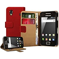 Membrane - Rot Brieftasche Klapptasche Hülle Samsung Galaxy Ace (GT-S5830, S5830i, S5839i) - Wallet Case Cover Schutzhülle