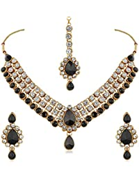 Rich Lady Antique Black Stone And Kundan Gold Finishing Necklace Set With Maang Tikaa