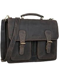 STILORD 'Karl' Portfolio Leather Large Briefcase Genuine Leather Men Teacher's Bag School Satchel Shoulder Bag Classic Vintage Business Work Bag