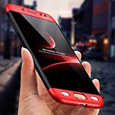 Cool & Creative Full Body 3-in-1 Slim Fit Complete 3D 360 Degree Protection Hybrid Hard Bumper Back Case Cover for Samsung Galaxy J7 (2015) (Black and Red)