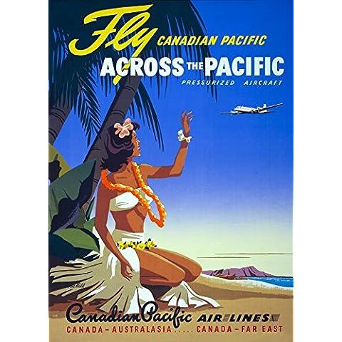 Canadá Fly Canadian Pacific Airlines Across the Pacific!, Reproducción sobre Calidad 200gsm de espesor en Cartel A3 Tarjeta Brillant