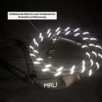 Piru Reflektierende Hundeleine - Nylon Geflochten - Kaufest - Gepolsterte Handschlaufe - Schwarz - 150cm 5