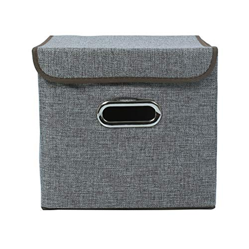 HOKIPO® Foldable Cube Storage Bin Basket for Office, Home Closet, Grey - Pack of 1 (10x10 inches)
