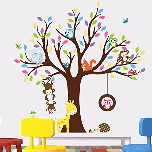 rainbow-fox-jungle-animal-stickers-muraux-arbre-decalcomanies-murales-singe-girafe-hibou-garderie-de