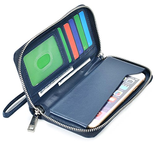 BANGBO Zippered PU Leather Clutch Wallet Handbag 5 Card Slots Phone Holder Portable Pouch for All 4.7-Inch phones, Black Blue