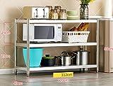 Küchenwagen HWF Edelstahl Küchenregal 3-Lagig Mikrowellenofen Rackboden Ofen Lagerregal Regal Home (Farbe : 120cm)