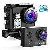 Action Cam, WiMiUS Actioncam 4k WIFI Unterwasserkamera 40M 170 ° Weitwinkel Ultra HD Wasserdichte Sport Camera Helmkamera mit 2 Akkus und Transporttasche (L2-Schwarz)