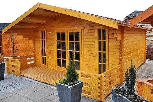 Gartenhaus MÜNCHEN Blockhaus 500x450cm + 150cm Veranda Gartenlaube Holzhaus Holzlaube -