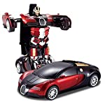 Toys Island Friction Family Transformer Toy Racing Car - Automatic Convert from Car to Robot for Kids