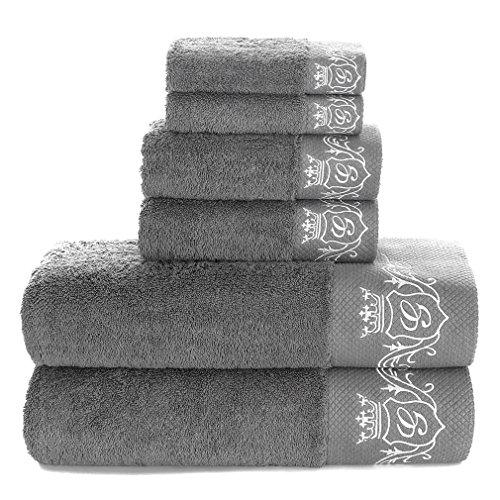 100% Reine Baumwolle Luxus Badezimmer 3-Teilig Stickerei Dekorative Handtuch Set; 1Hotel & Spa Qualität Waschlappen, 1Handtücher, und 1Bad Handtücher 6 Piece Grey Set -