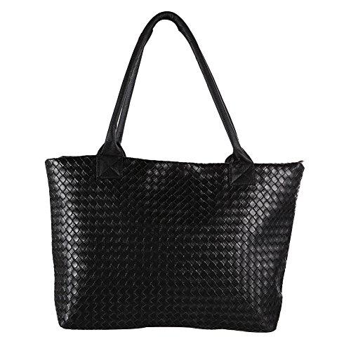prettygood7 Damen Handtasche Geflochten Schultertaschen Handtasche Handtasche PU Leder Hobo Bag -