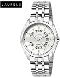 Laurels Aristocrat White Dial Date Function Wrist Watch - For Men